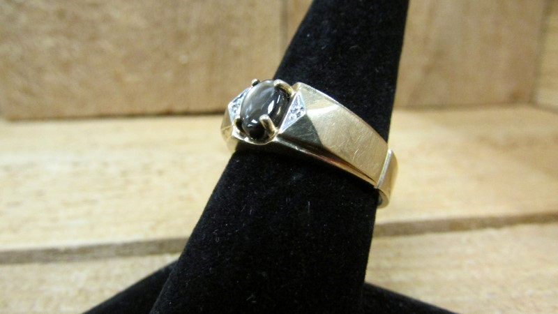 Brown Stone Gent's Stone & Diamond Ring 2 Diamonds .02 Carat T.W.