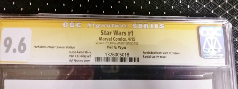 Star Wars #1 Marvel 2015 CGC SS 9.6 Martin Forbidden Planet Special Edition