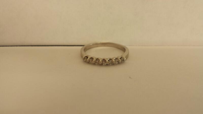 Lady's Diamond Wedding Band 7 Diamonds .07 Carat T.W. 14K White Gold 1.4dwt