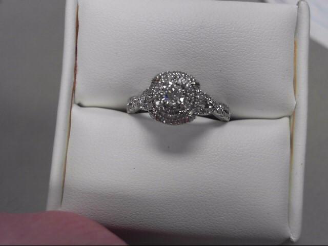 Lady's Diamond Engagement Ring 69 Diamonds .91 Carat T.W. 14K White Gold 3.81g