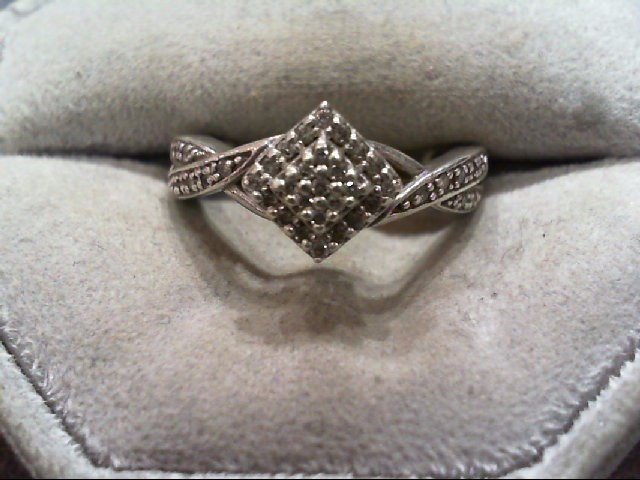 Lady's Silver-Diamond Ring 36 Diamonds .36 Carat T.W. 925 Silver 3.5g