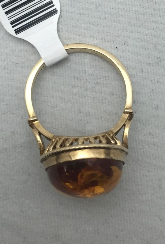 Amber Lady's Stone Ring 9K Yellow Gold 4.4dwt Size:9
