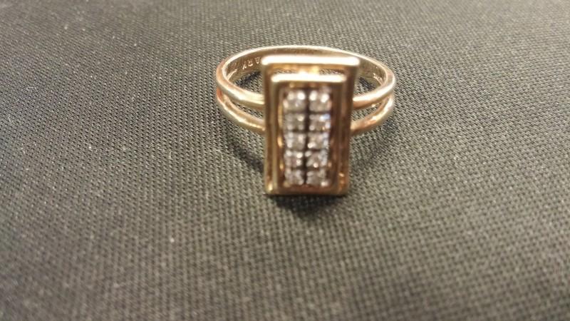 Lady's Diamond Cluster Ring 10 Diamonds .10 Carat T.W. 14K Yellow Gold 2.2dwt