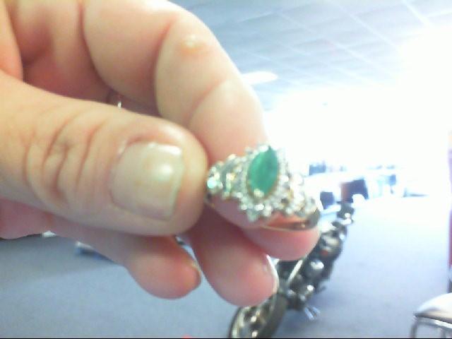 Synthetic Emerald Lady's Stone & Diamond Ring 24 Diamonds .24 Carat T.W.