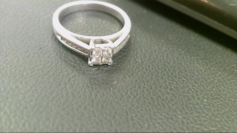 Lady's Silver-Diamond Ring 16 Diamonds .52 Carat T.W. 925 Silver 3.5g