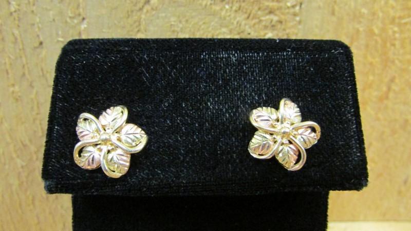 Gold Earrings 10K 2 Tone Gold 3.5g
