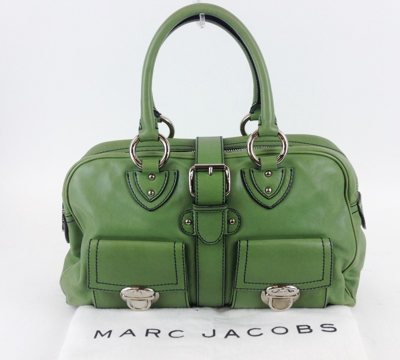 MARC JACOBS GREEN LEATHER VENETIA SATCHEL