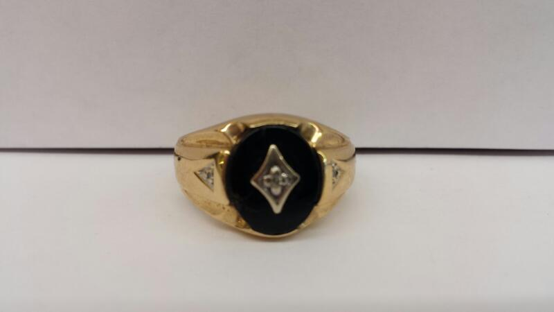 10k Yellow Gold Ring with Black Oval Stone and 3 Diamond Chips
