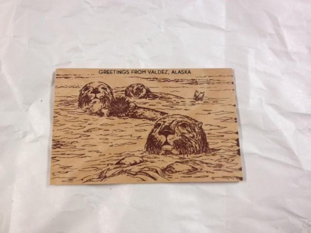 WOOD POSTCARD SEAL- GREETINGS FORM ALASKA