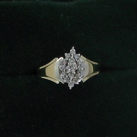 Lady's Diamond Cluster Ring 15 Diamonds .75 Carat T.W. 10K Yellow Gold 2.1dwt