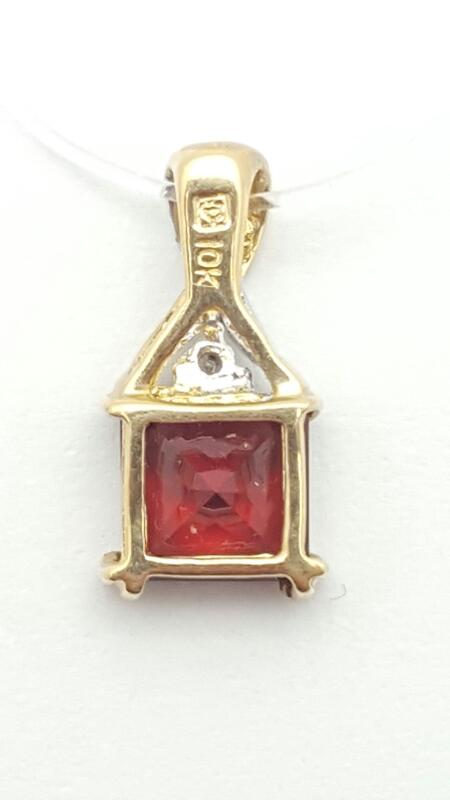Almandite Garnet Gold-Diamond & Stone Pendant .01 CT. 10K Yellow Gold 1.1g