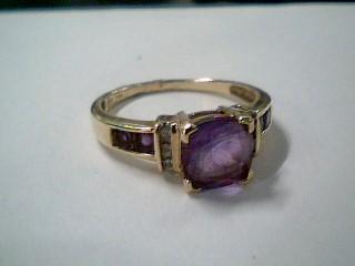 Synthetic Amethyst Lady's Stone & Diamond Ring 6 Diamonds .06 Carat T.W.