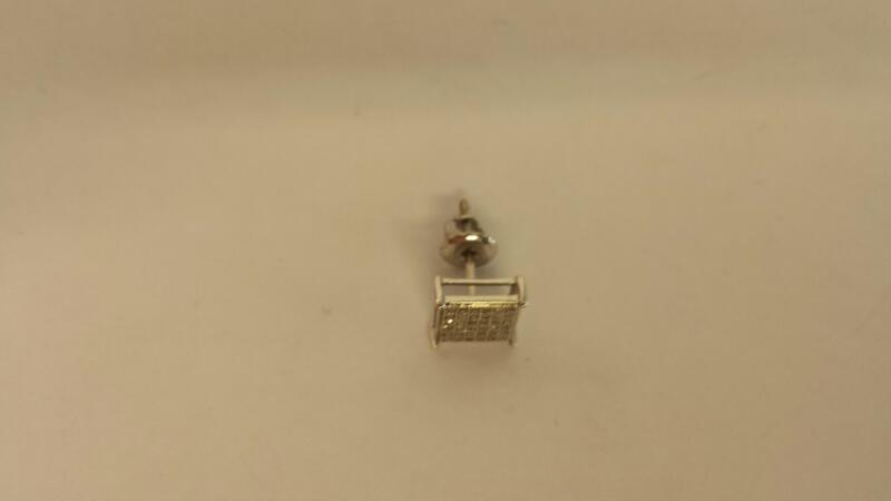 Gold-Diamond Earrings 24 Diamonds .24 Carat T.W. 10K White Gold 0.47dwt