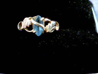 Synthetic Blue Topaz Lady's Stone Ring 10K Tri-color Gold 1.7g