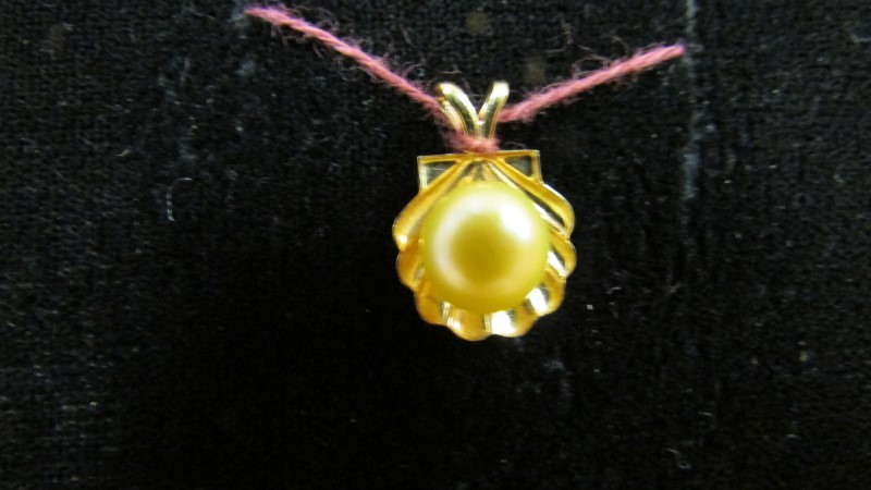 Synthetic Pearl Gold-Stone Pendant 10K Yellow Gold 0.9g