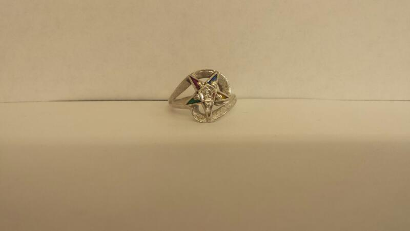 LDS 10KT Synthetic Cubic Zirconia Lady's Stone & Diamond Ring COLORED STONES