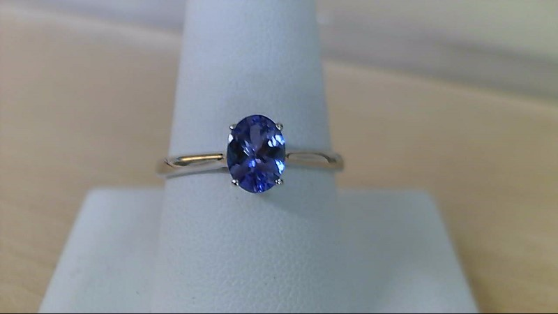 Tanzanite Lady's Stone Ring 10K White Gold 2g