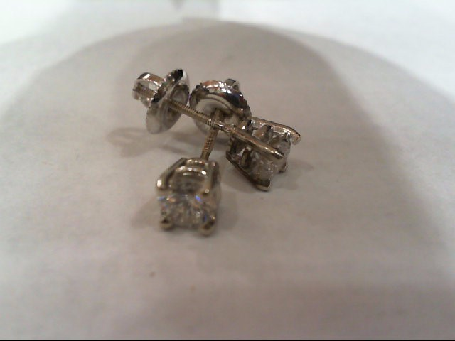 Gold-Diamond Earrings 2 Diamonds .70 Carat T.W. 14K White Gold 1.2g