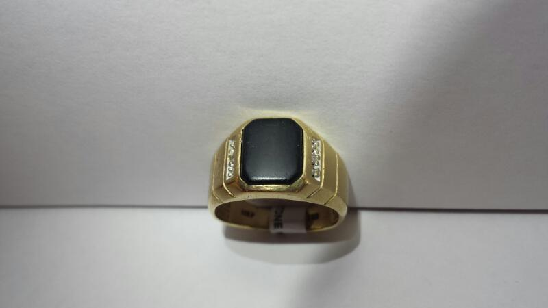 10k Yellow Gold Ring with 1 Black Stone and 2 Brilliant Cut Diamonds