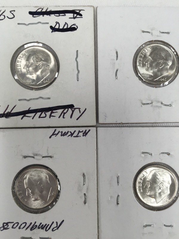 UNITED STATES SILVER ROOSEVELT DIME 1946 S LOT OF 4
