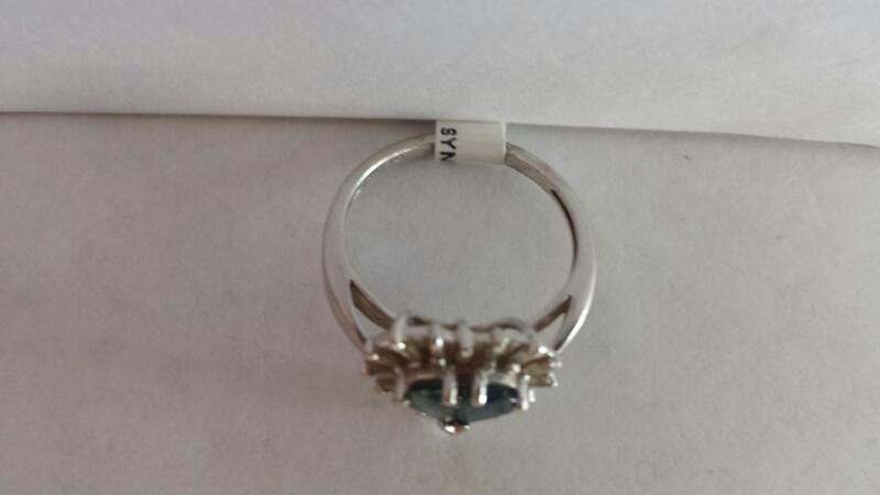 14k White Gold Ring with Sapphire Heart and 16 Baguette Diamonds