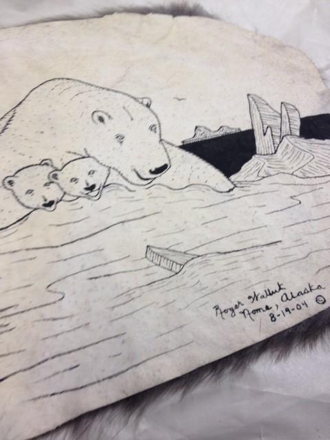 ROGER WALLUK FUR PELT DRAWING POLAR BEARS