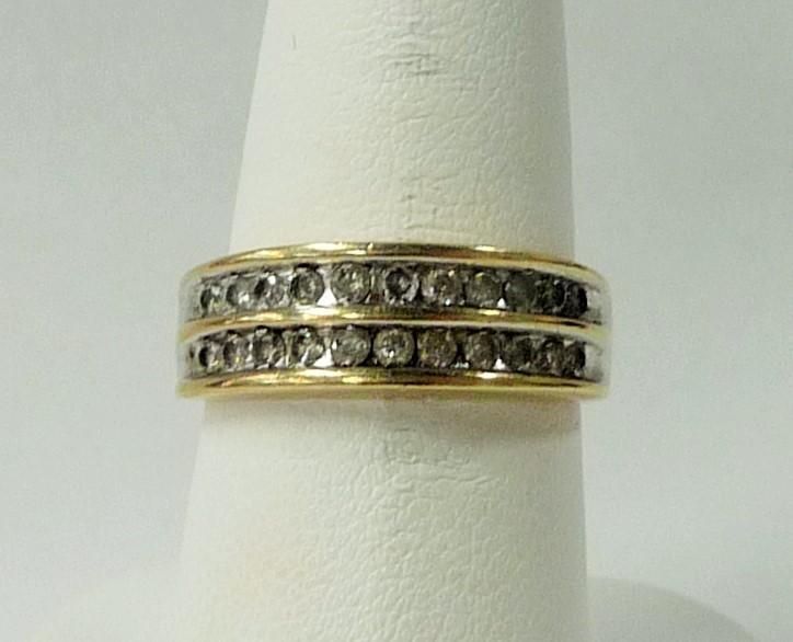 Lady's Diamond Wedding Band 22 Diamonds .66 Carat T.W. 10K Yellow Gold 2.38dwt
