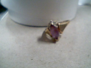 Synthetic Amethyst Lady's Stone Ring 14K Yellow Gold 1.9g