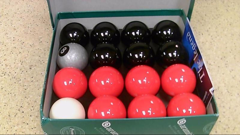 Aramith Premier Silver 8 Ball Red and Black Pool Balls