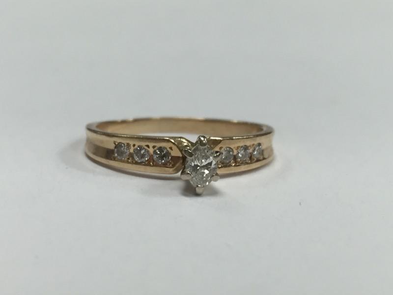Lady's Diamond Solitaire Ring 7 Diamonds .40 Carat T.W. 14K Yellow Gold 2.6g