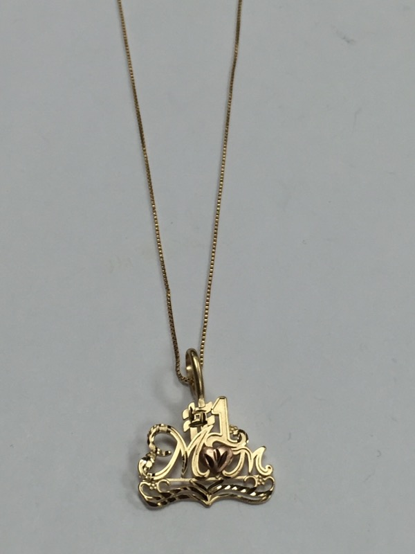 """#1 MOM TWO TONE 14K YELLOW GOLD PENDANT ON 24"""" 14K GOLD CHAIN"""