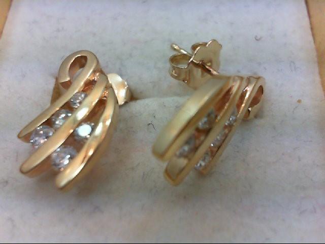 Gold-Diamond Earrings 10 Diamonds .38 Carat T.W. 14K Yellow Gold 3g