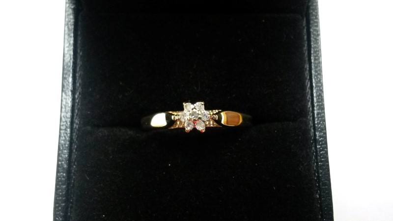 Lady's Diamond Engagement Ring 7 Diamonds .07 Carat T.W. 10K Yellow Gold 0.9dwt
