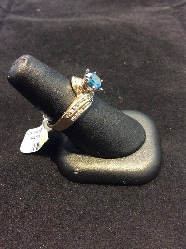 Yellow Gold Enhanced Blue Diamond Ring 1 3/4 CTTW Round Diamond Ring