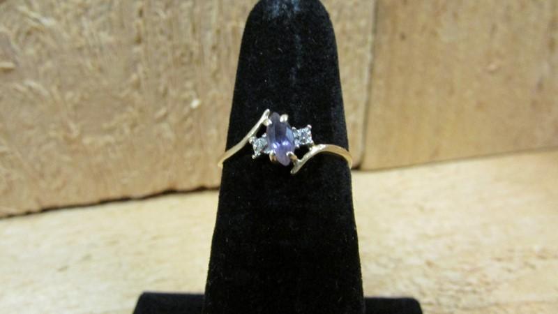 Synthetic Purple Stone Lady's Stone & Diamond Ring 2 Diamonds 0.02 Carat T.W. 10