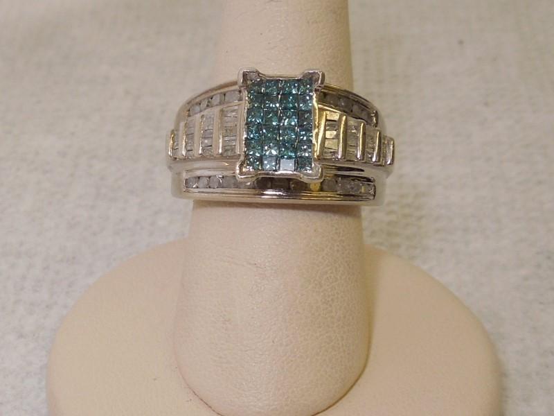 Lady's Silver-Diamond Ring 84 Diamonds 2.64 Carat T.W. 925 Silver 8g Size:7