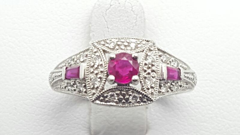 Ruby Lady's Stone & Diamond Ring 12 Diamonds .12 Carat T.W. 14K White Gold 3.1g