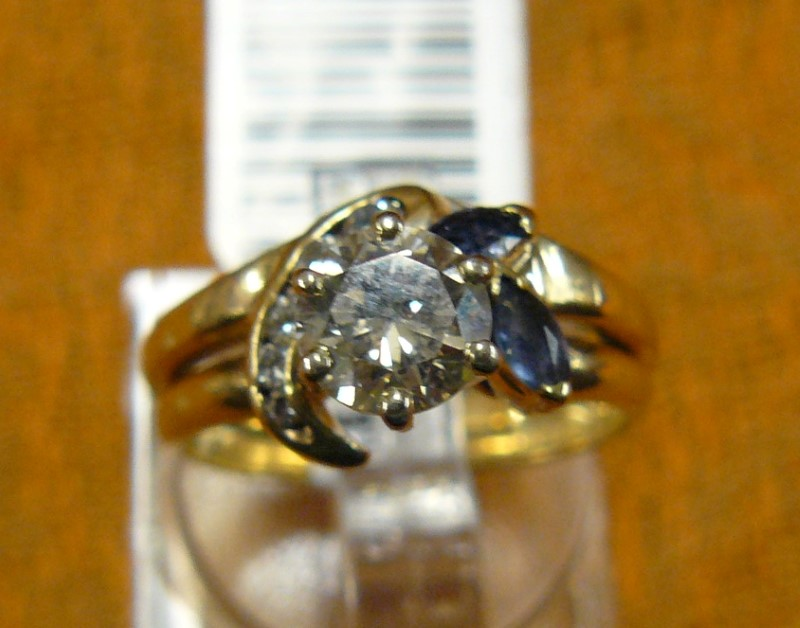 Synthetic Sapphire Lady's Stone & Diamond Ring 6 Diamonds .82 Carat T.W.