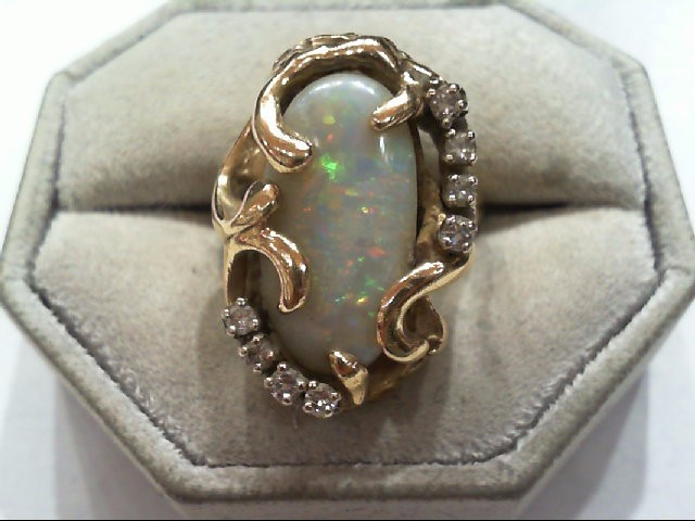 Opal Lady's Stone & Diamond Ring 8 Diamonds .32 Carat T.W. 14K Yellow Gold