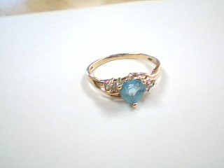 Synthetic Blue Topaz Lady's Stone Ring 10K Yellow Gold 1.8g Size:7