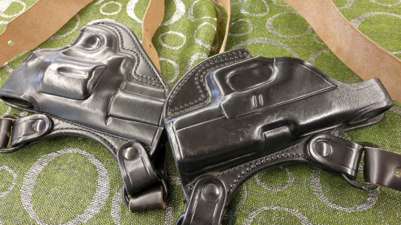 BULMAN LEATHER GUN DOUBLE HOLSTER, GLOCK 30 AND SW 624