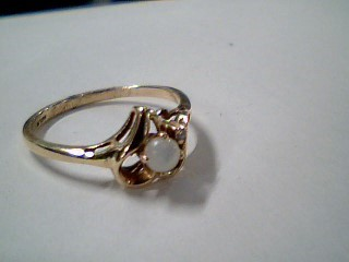 Synthetic Moonstone Lady's Stone & Diamond Ring .01 CT. 10K Yellow Gold 1.5g