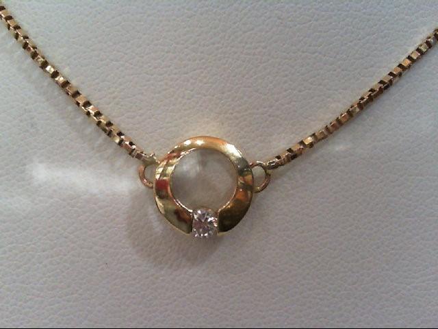 Gold-Diamond Solitaire Pendant .15 CT. 14K Yellow Gold 3.9g