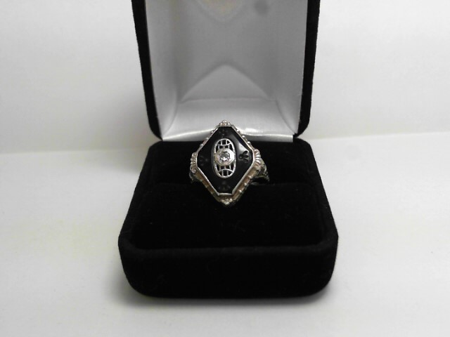 Synthetic Onyx Lady's Stone Ring 14K White Gold 2.5dwt
