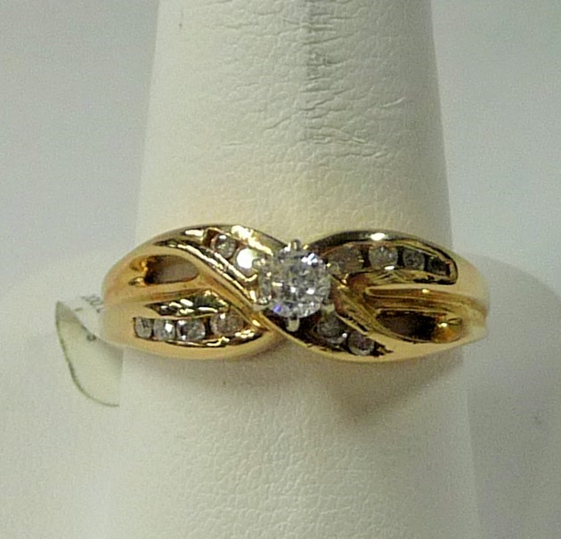 Lady's Diamond Engagement Ring 13 Diamonds .90 Carat T.W. 10K Yellow Gold