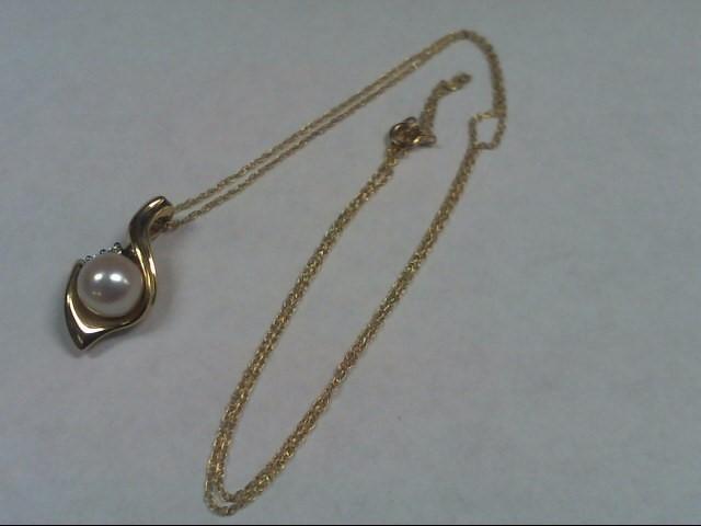 """Pearl Diamond & Stone Necklace 2 Diamonds .02 Carat T.W. 18"""" 18 INCHES"""
