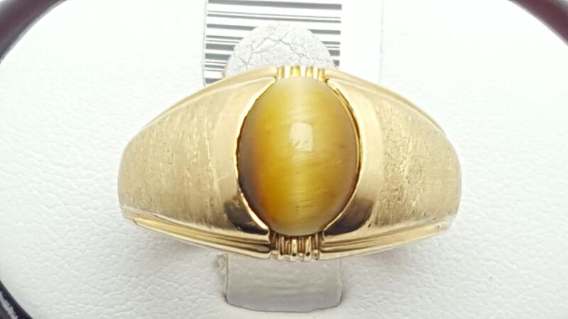 Gent's cats eye Ring 10K Yellow Gold 8.5g size10