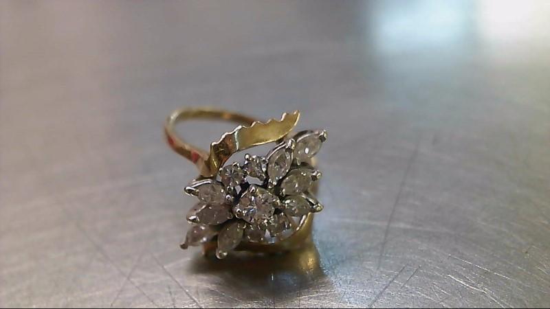 Lady's Diamond Cluster Ring 13 Diamonds .78 Carat T.W. 14K Yellow Gold 4.93g