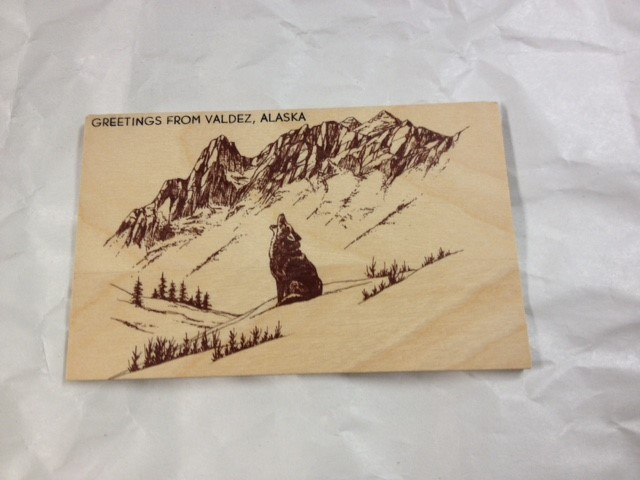 WOOD POSTCARD HOWLING WOLF-GREETINGS FROM ALASKA