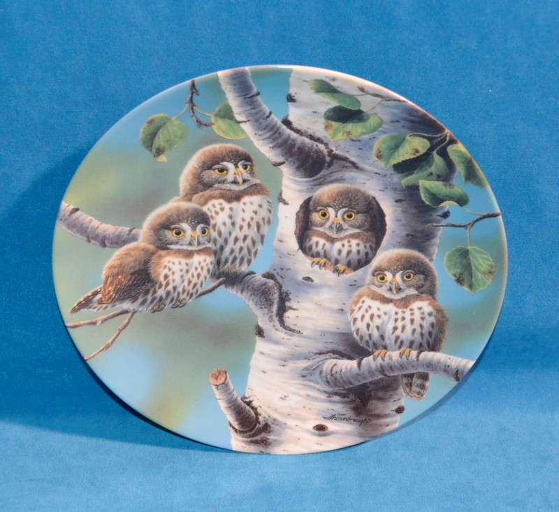 KNOWLES Collectible Plate/Figurine THE TREE HOUSE: NORTHERN PYGMY OWLS